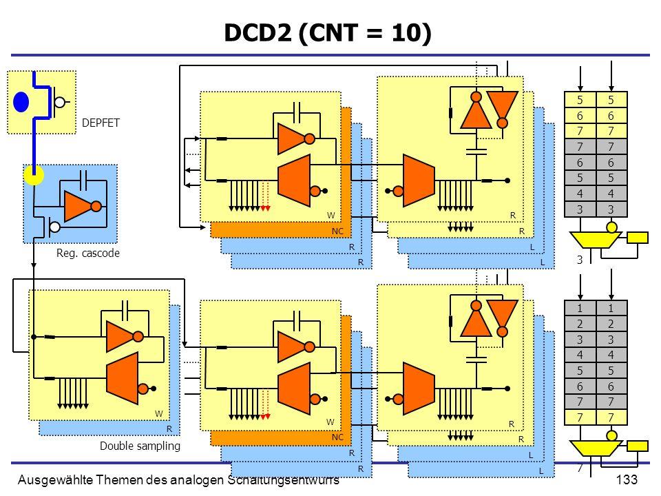 133Ausgewählte Themen des analogen Schaltungsentwurfs DCD2 (CNT = 10) Reg. cascode Double sampling DEPFET W NC R R R R L L R R W R R L L W R 77 66 55
