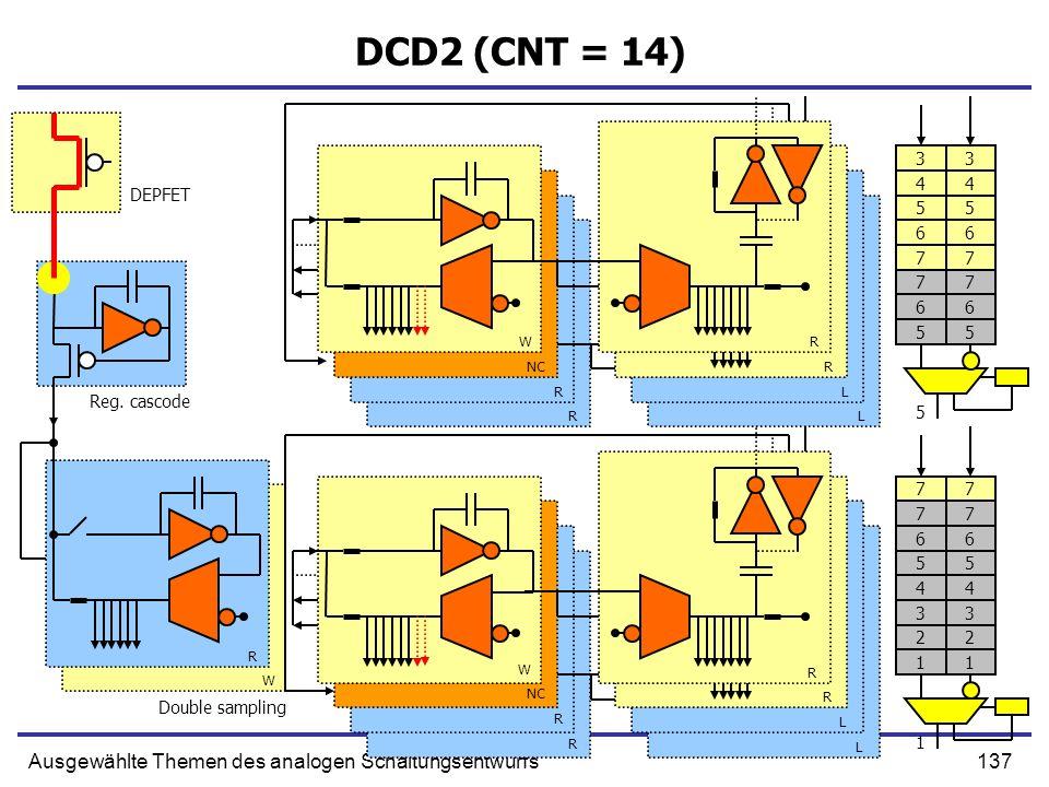 137Ausgewählte Themen des analogen Schaltungsentwurfs DCD2 (CNT = 14) Reg. cascode Double sampling DEPFET W NC R R R R L L R R W R R L L R W 77 66 55