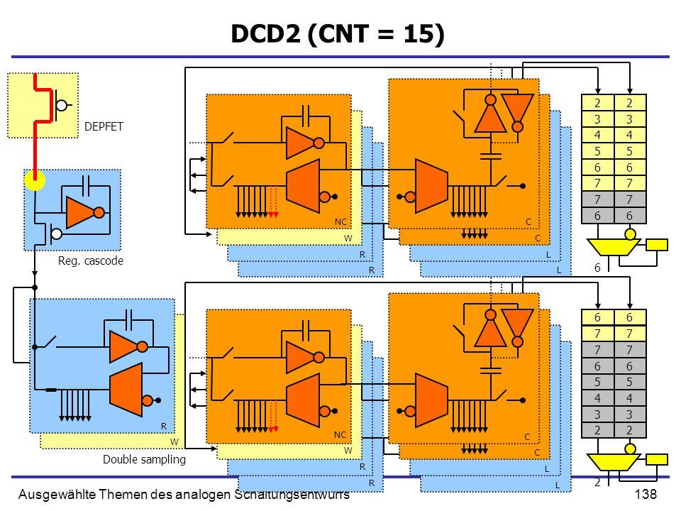 138Ausgewählte Themen des analogen Schaltungsentwurfs DCD2 (CNT = 15) Double sampling NC W R R C C L L W R R C C L L Reg. cascode DEPFET R W 77 66 55