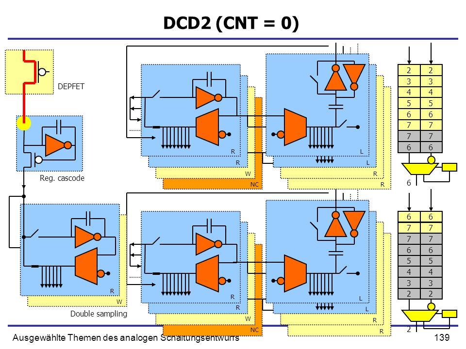 139Ausgewählte Themen des analogen Schaltungsentwurfs DCD2 (CNT = 0) Double sampling R R W NC L L R R R W R L L R R Reg. cascode DEPFET R W 77 66 55 4
