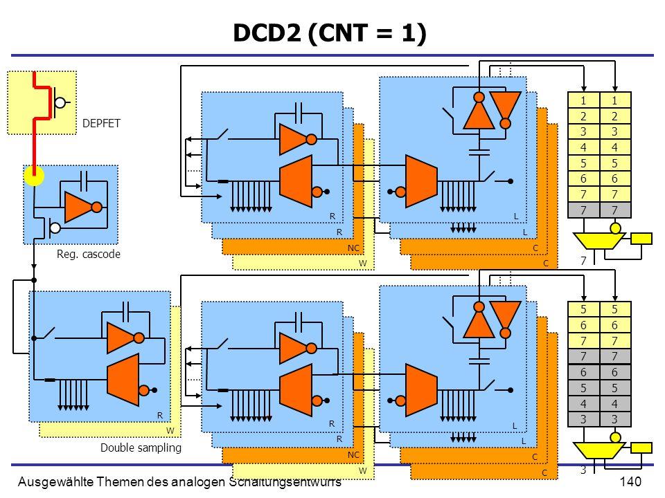 140Ausgewählte Themen des analogen Schaltungsentwurfs DCD2 (CNT = 1) Double sampling R R NC W L L C C R W R L L C C Reg. cascode DEPFET R W 77 66 55 4