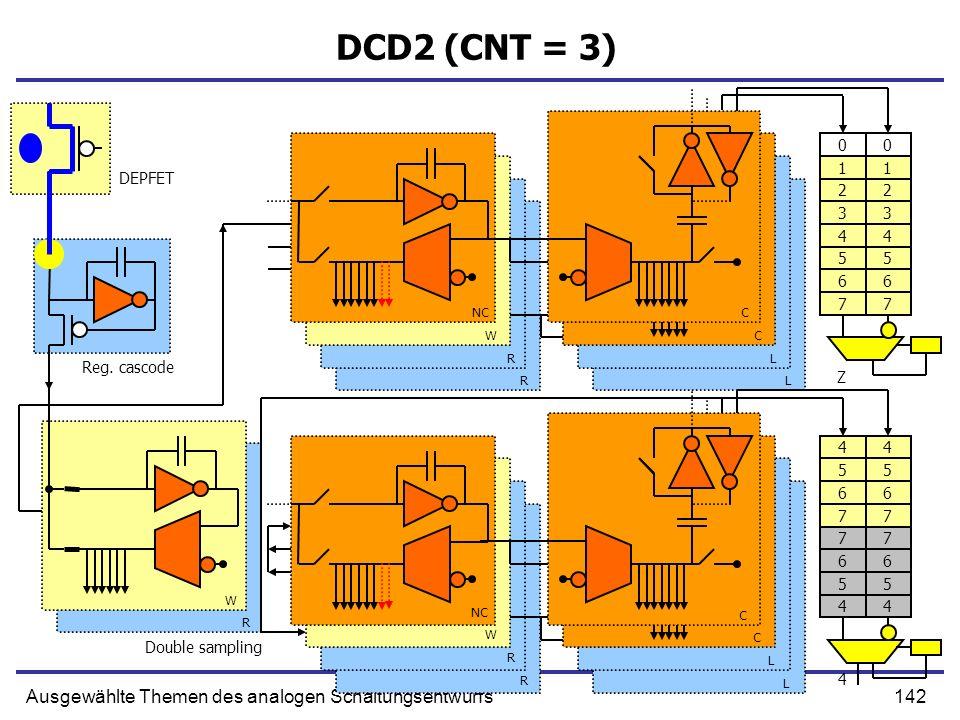 142Ausgewählte Themen des analogen Schaltungsentwurfs DCD2 (CNT = 3) 0 1 2 3 4 5 6 7 0 1 2 3 4 5 6 7 Reg. cascode Double sampling DEPFET NC W R R C C