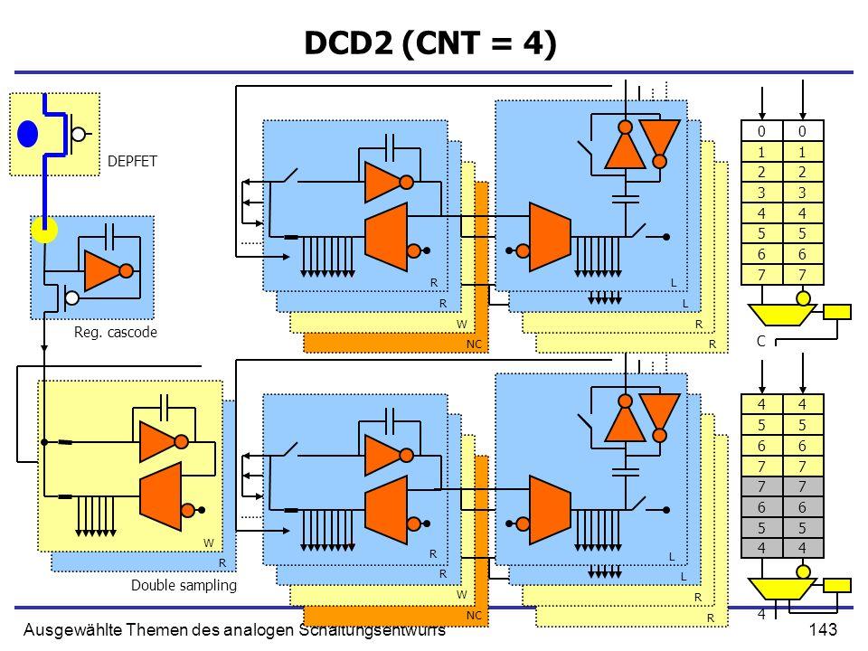 143Ausgewählte Themen des analogen Schaltungsentwurfs DCD2 (CNT = 4) Reg. cascode Double sampling DEPFET R R W NC L L R R R W R L L R R W R 0 1 2 3 4