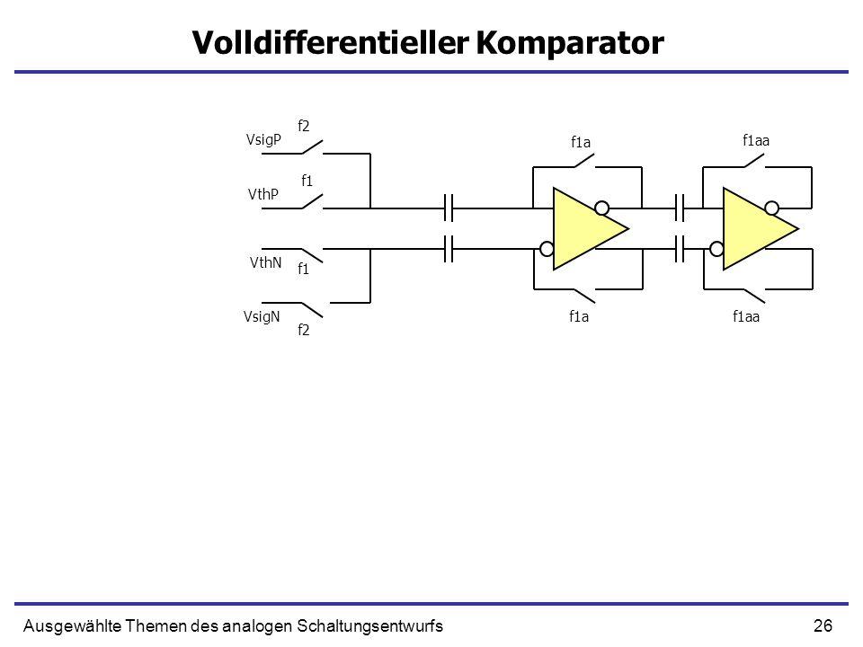 26Ausgewählte Themen des analogen Schaltungsentwurfs Volldifferentieller Komparator f1aa VsigP VthP f1a f1 f2 VsigN VthN f1 f2 f1af1aa
