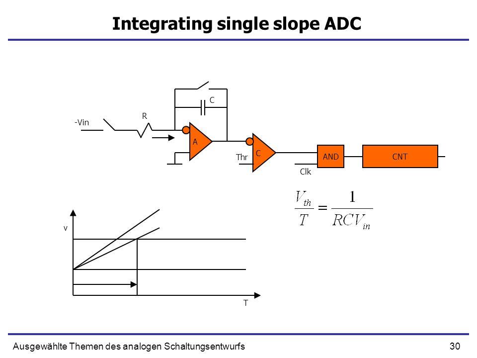 30Ausgewählte Themen des analogen Schaltungsentwurfs Integrating single slope ADC A C -Vin Thr AND Clk CNT R C T v