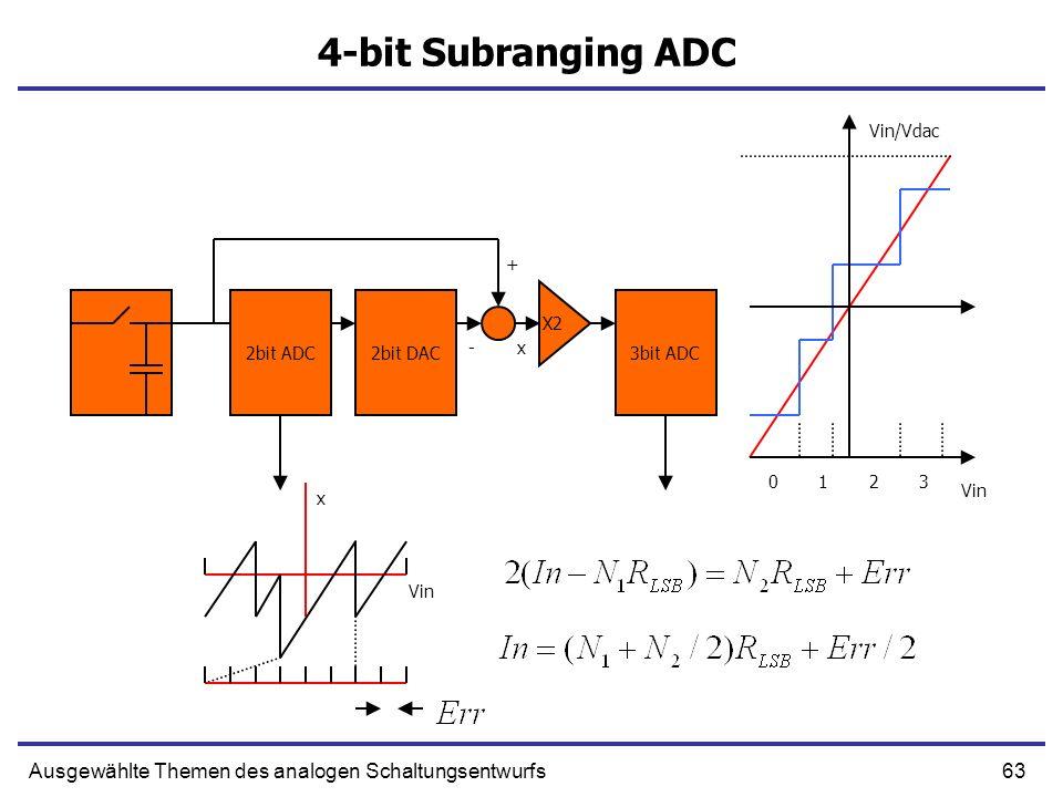 63Ausgewählte Themen des analogen Schaltungsentwurfs 4-bit Subranging ADC 2bit ADC2bit DAC3bit ADC X2 0123 Vin/Vdac Vin x- + x