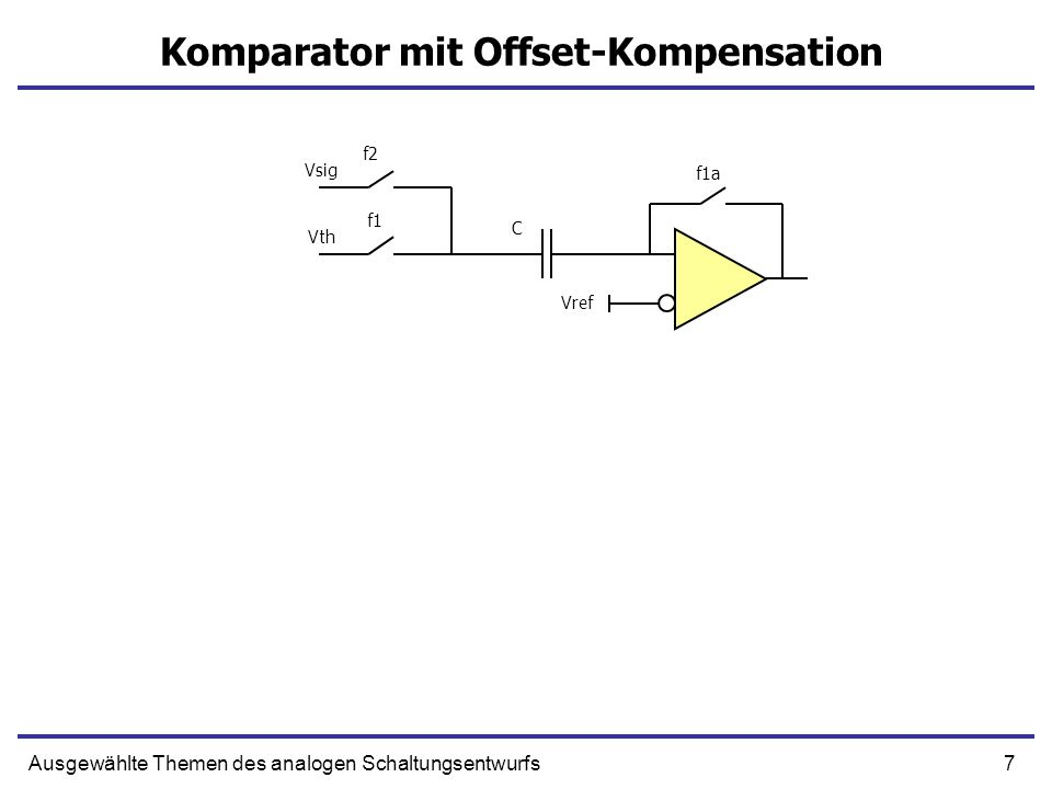 88Ausgewählte Themen des analogen Schaltungsentwurfs Constant Resistance Floating Switch 0-Vdd 2Vdd-Vdd Vdd-2Vdd Vdd-0 2Vdd-Vdd Vdd-2Vdd In Out Implementation of the level shifter