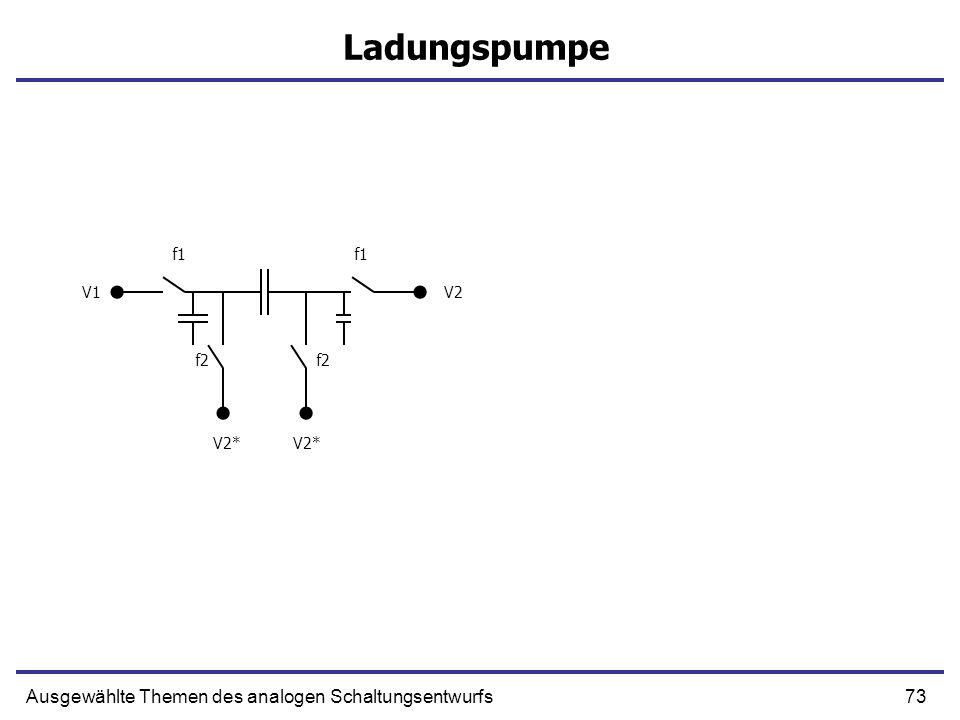 73Ausgewählte Themen des analogen Schaltungsentwurfs Ladungspumpe f1 f2 V1V2 V2*