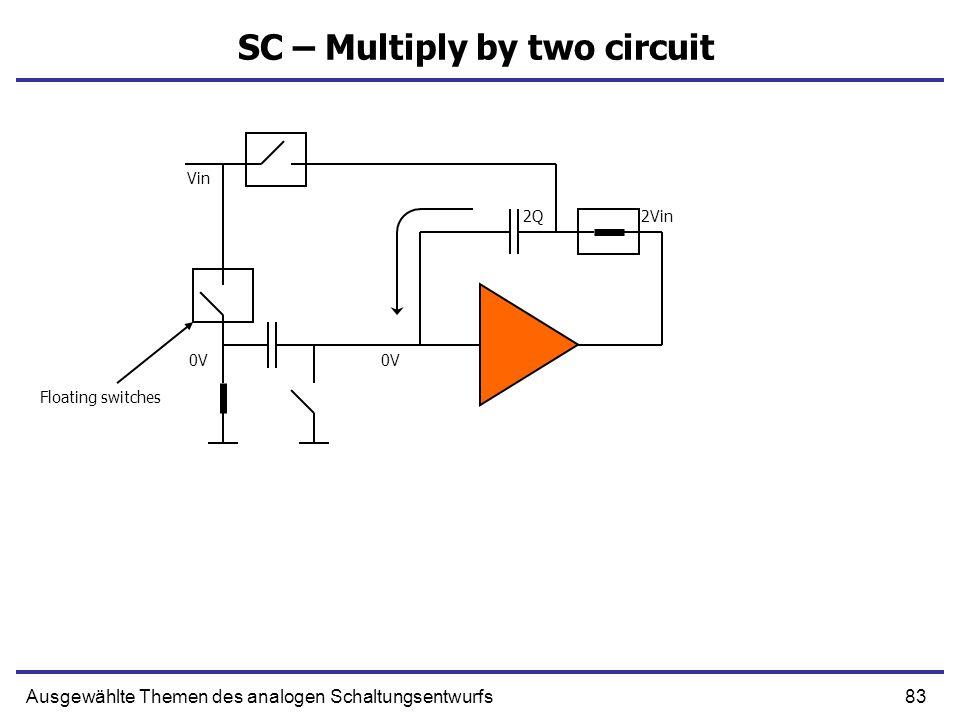 83Ausgewählte Themen des analogen Schaltungsentwurfs SC – Multiply by two circuit 2Q 0V Vin 0V 2Vin Floating switches