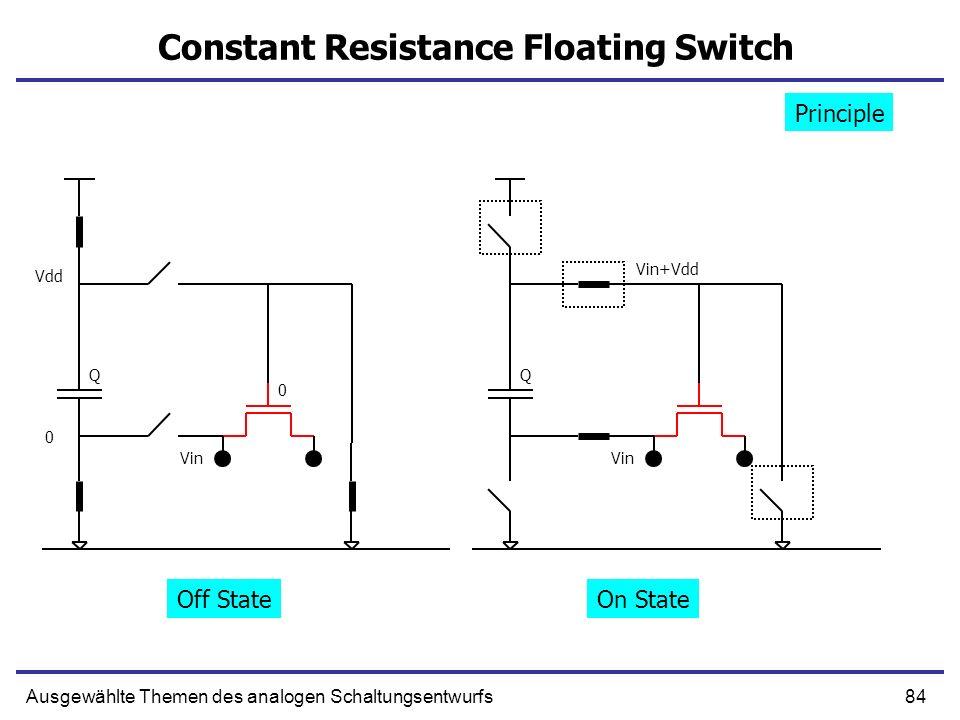 84Ausgewählte Themen des analogen Schaltungsentwurfs Constant Resistance Floating Switch 0 Vdd 0 Vin QQ Vin+Vdd Principle Off StateOn State