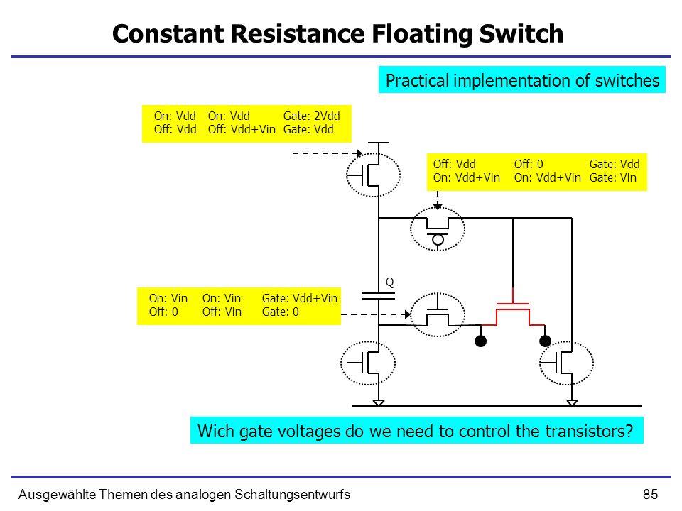 85Ausgewählte Themen des analogen Schaltungsentwurfs Constant Resistance Floating Switch Q On: Vdd Off: Vdd+Vin Off: 0 On: Vdd+Vin Off: Vdd On: Vdd+Vi