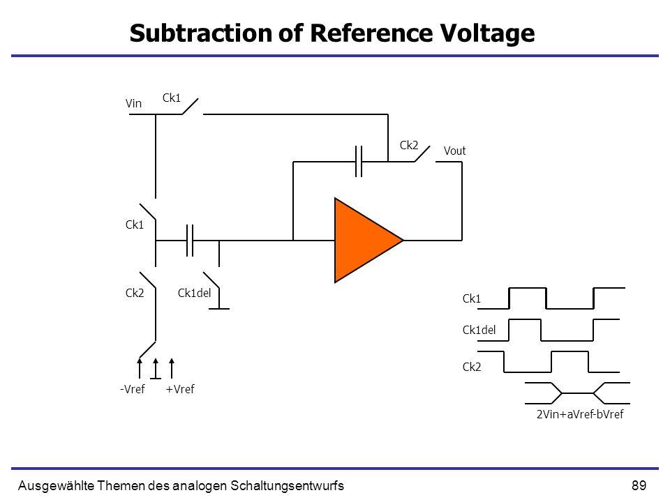 89Ausgewählte Themen des analogen Schaltungsentwurfs Subtraction of Reference Voltage Vin Ck1 Ck1del Ck2 Ck1 Ck1del Ck2 2Vin+aVref-bVref -Vref+Vref Vo