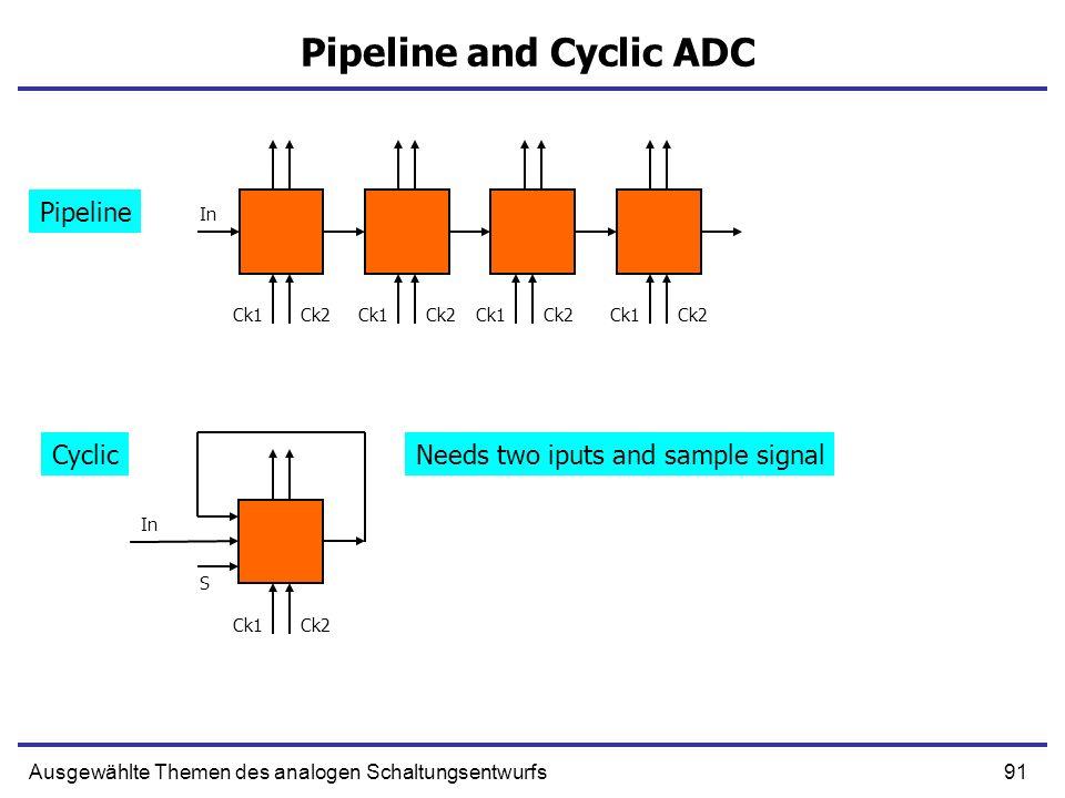 91Ausgewählte Themen des analogen Schaltungsentwurfs Pipeline and Cyclic ADC Ck1Ck2 Ck1Ck2 Ck1Ck2Ck1Ck2 Ck1Ck2 S In Pipeline CyclicNeeds two iputs and