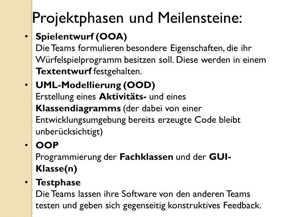 Projektphasen und Meilensteine: Spielentwurf (OOA) Die Teams formulieren besondere Eigenschaften, die ihr Würfelspielprogramm besitzen soll. Diese wer