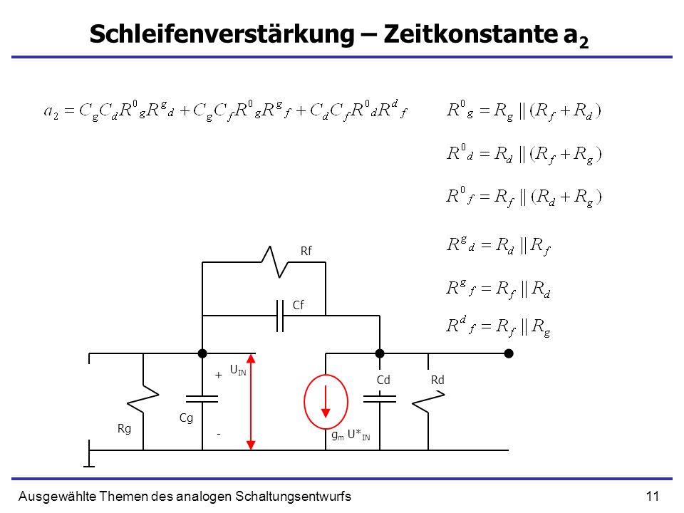 11Ausgewählte Themen des analogen Schaltungsentwurfs Schleifenverstärkung – Zeitkonstante a 2 + g m U* IN Cf CdRd Rg - Cg U IN Rf
