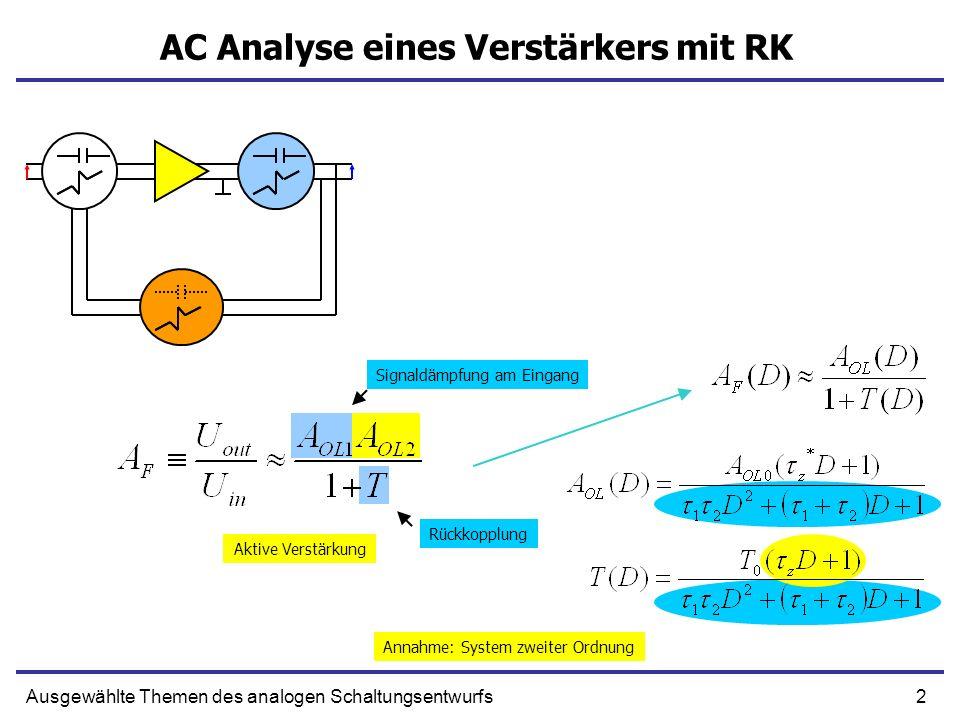2Ausgewählte Themen des analogen Schaltungsentwurfs AC Analyse eines Verstärkers mit RK Signaldämpfung am Eingang Rückkopplung Aktive Verstärkung Annahme: System zweiter Ordnung