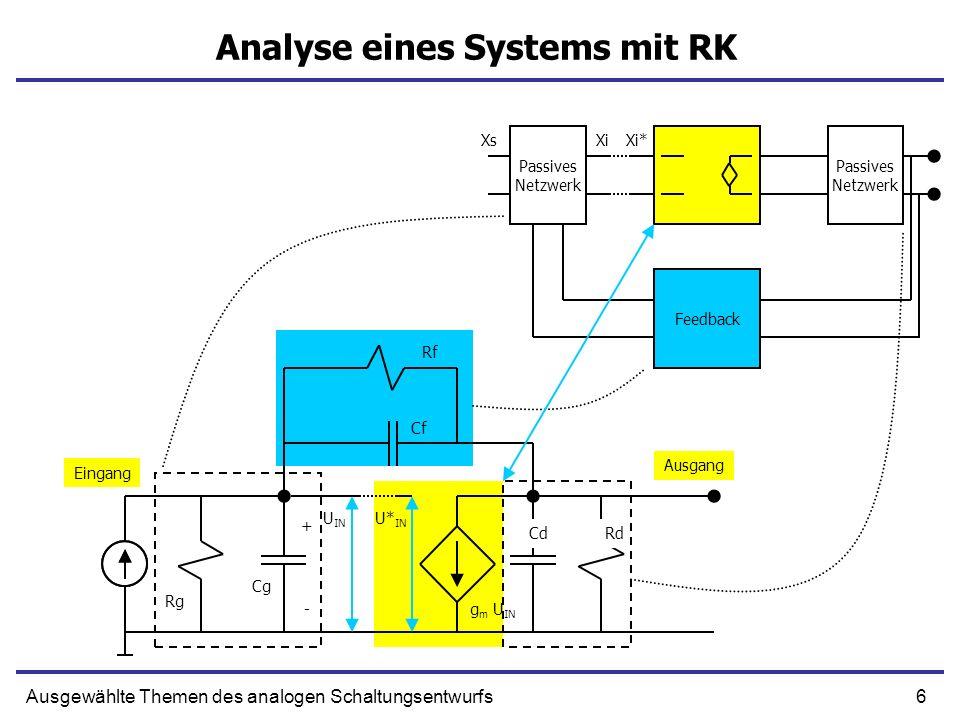 6Ausgewählte Themen des analogen Schaltungsentwurfs Analyse eines Systems mit RK + g m U IN Cf CdRd Rg - Eingang Cg U IN Rf Ausgang U* IN Passives Netzwerk Passives Netzwerk Feedback XiXi*Xs