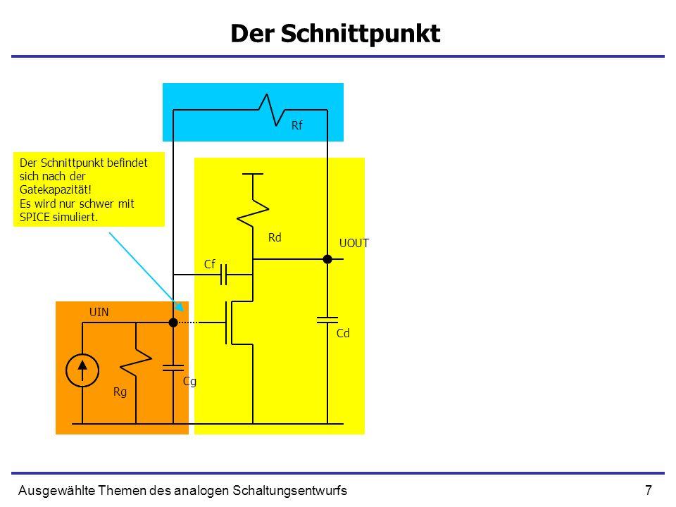 7Ausgewählte Themen des analogen Schaltungsentwurfs Der Schnittpunkt UIN UOUT Rg Rd Cd Cf Cg Rf Der Schnittpunkt befindet sich nach der Gatekapazität.