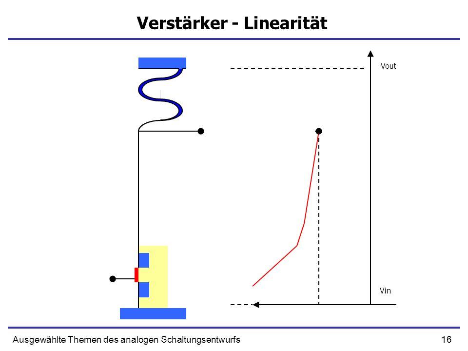 16Ausgewählte Themen des analogen Schaltungsentwurfs Verstärker - Linearität Vout Vin