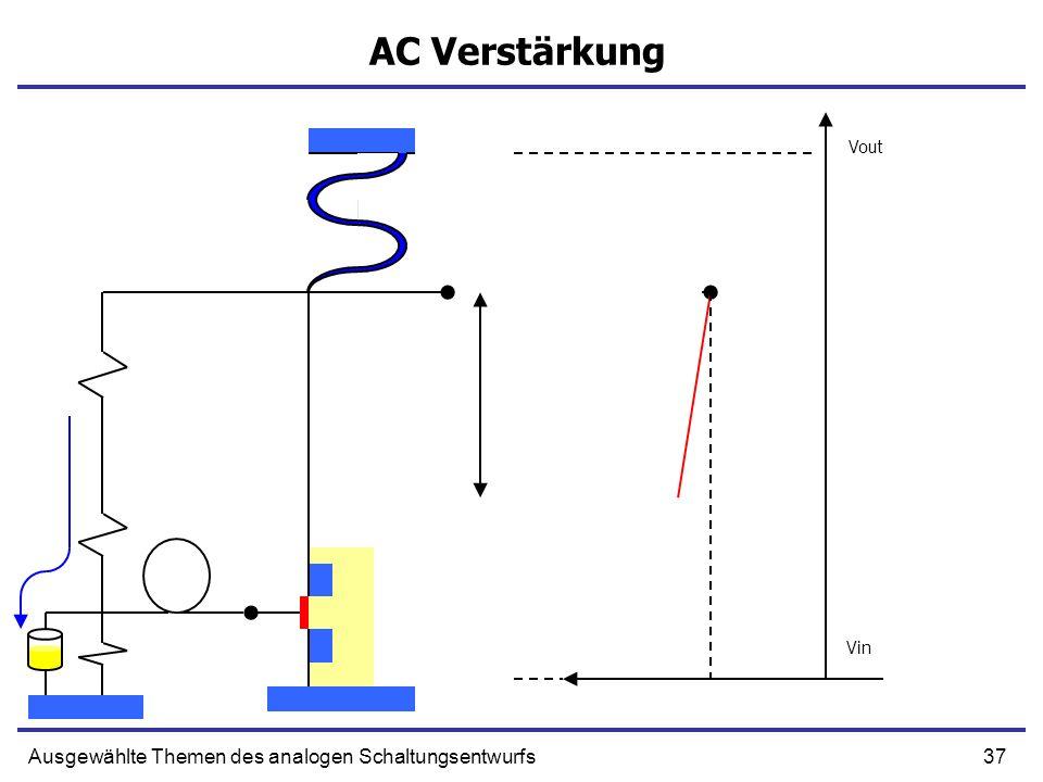 37Ausgewählte Themen des analogen Schaltungsentwurfs AC Verstärkung Vout Vin