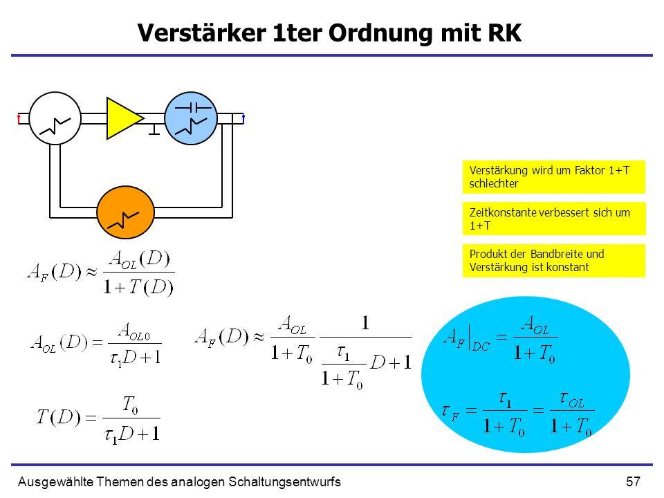 57Ausgewählte Themen des analogen Schaltungsentwurfs Verstärker 1ter Ordnung mit RK Verstärkung wird um Faktor 1+T schlechter Zeitkonstante verbessert