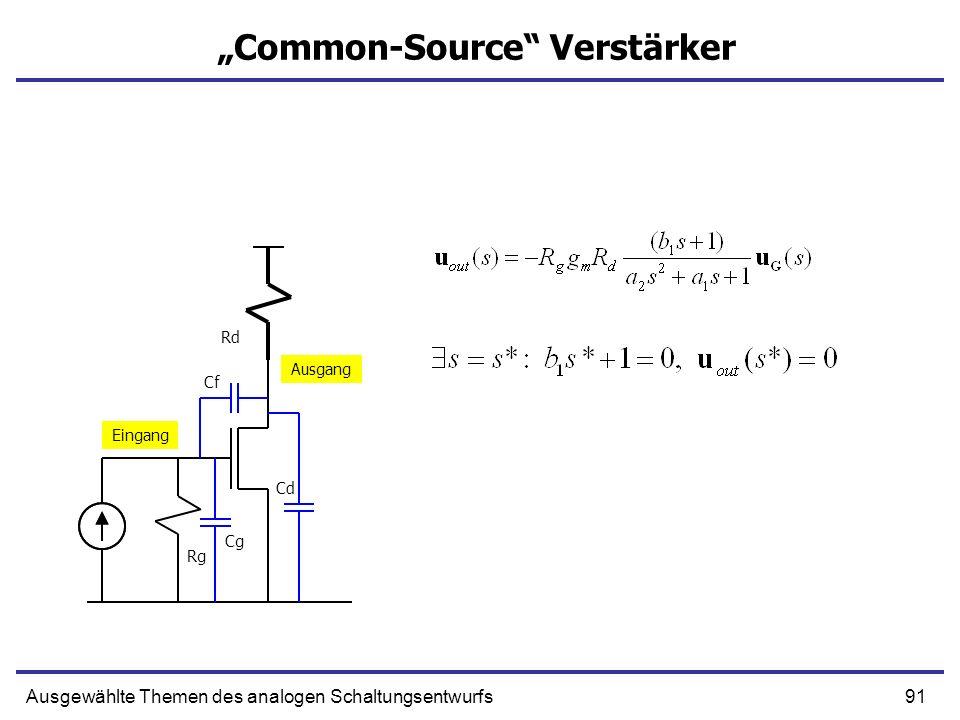 91Ausgewählte Themen des analogen Schaltungsentwurfs Common-Source Verstärker Eingang Ausgang Rg Rd Cg Cf Cd