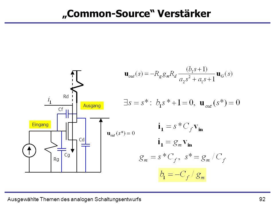 92Ausgewählte Themen des analogen Schaltungsentwurfs Common-Source Verstärker Eingang Ausgang Rg Rd Cg Cf Cd