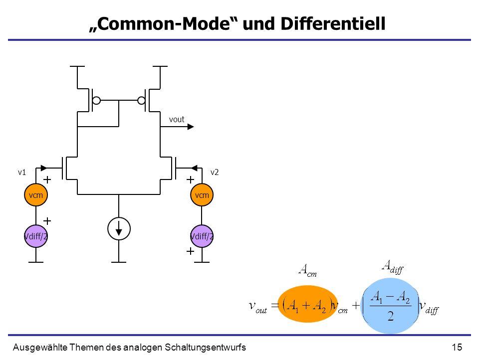 15Ausgewählte Themen des analogen Schaltungsentwurfs Common-Mode und Differentiell vcm v1v2 vout Vdiff/2