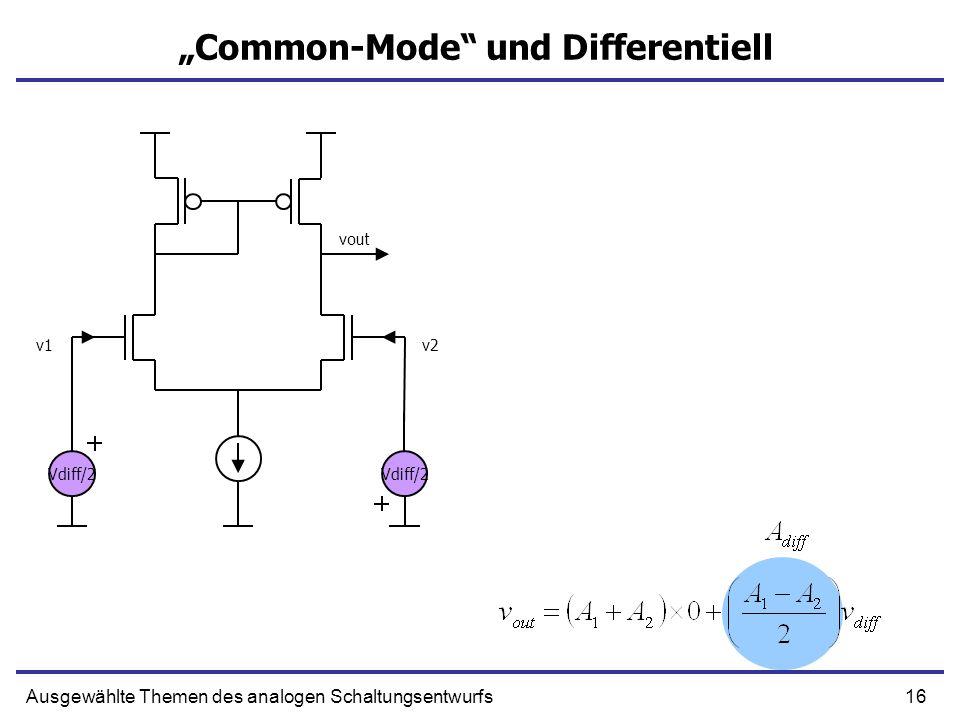 16Ausgewählte Themen des analogen Schaltungsentwurfs Common-Mode und Differentiell v1v2 vout Vdiff/2