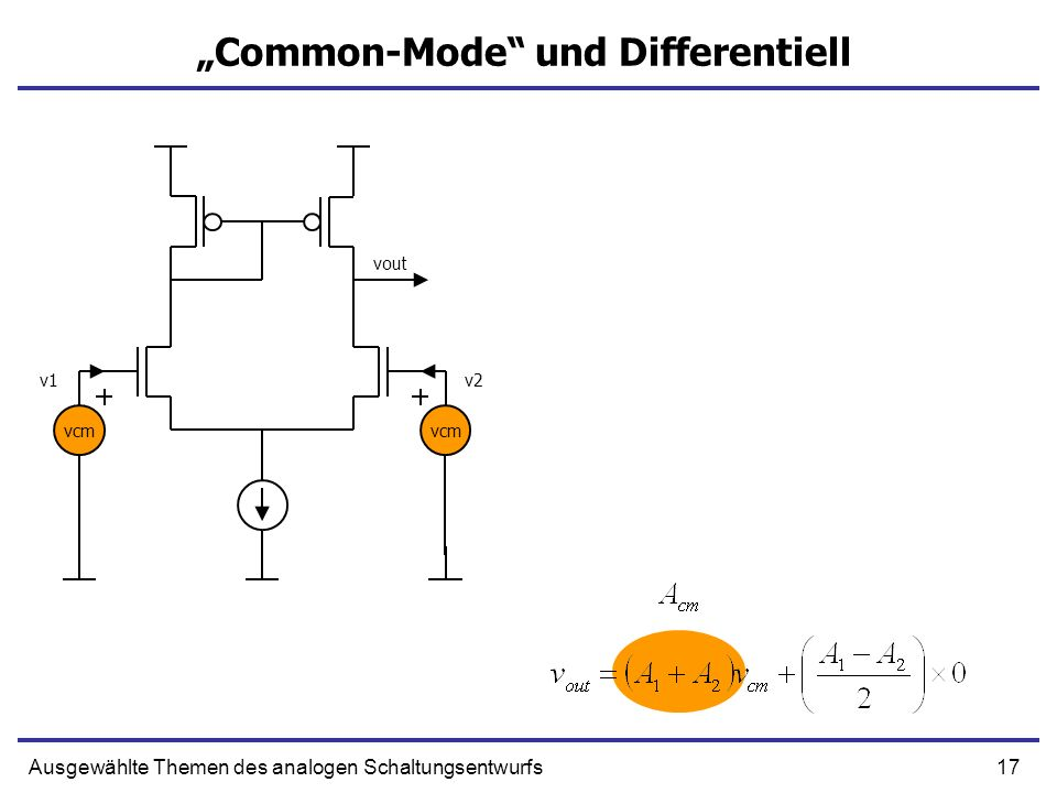 17Ausgewählte Themen des analogen Schaltungsentwurfs Common-Mode und Differentiell vcm v1v2 vout
