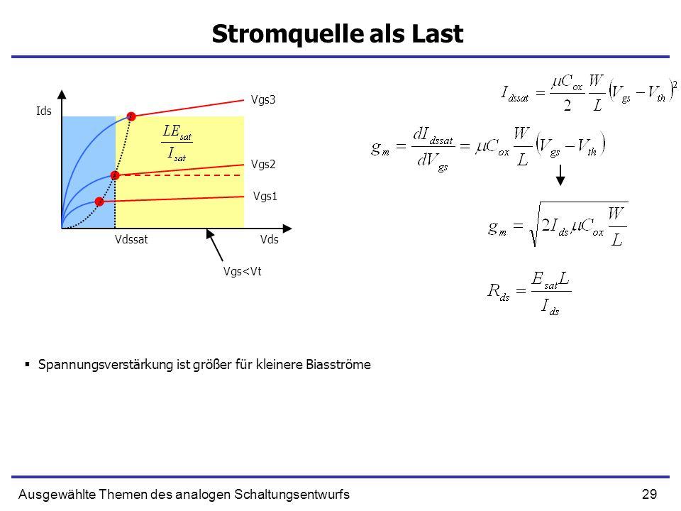 29Ausgewählte Themen des analogen Schaltungsentwurfs Stromquelle als Last Spannungsverstärkung ist größer für kleinere Biasströme Ids VdsVdssat Vgs1 V
