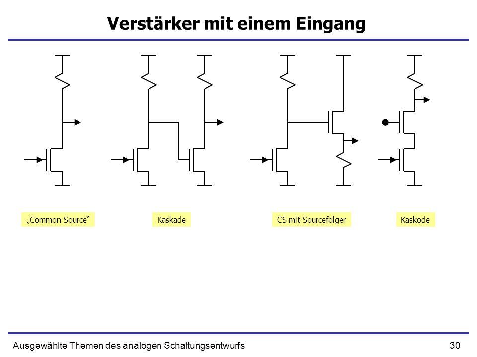 30Ausgewählte Themen des analogen Schaltungsentwurfs Verstärker mit einem Eingang Common SourceKaskadeCS mit SourcefolgerKaskode