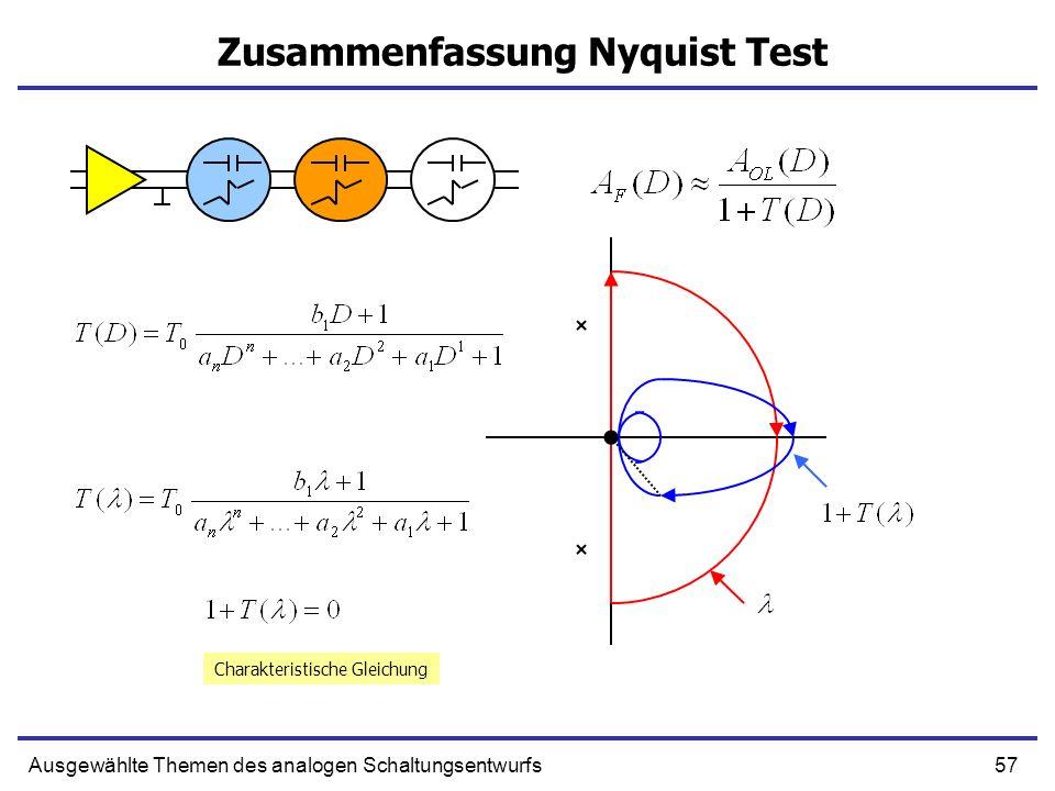 57Ausgewählte Themen des analogen Schaltungsentwurfs Zusammenfassung Nyquist Test Charakteristische Gleichung