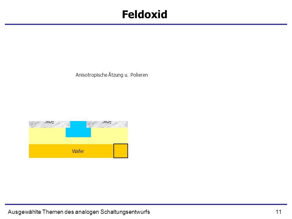 11Ausgewählte Themen des analogen Schaltungsentwurfs Feldoxid SiO 2 Si 2 N 3 Wafer Epi Lage SiO 2 Si 2 N 3 Lack Ätzen H2OH2O Oxidation SiO 2 Anisotrop