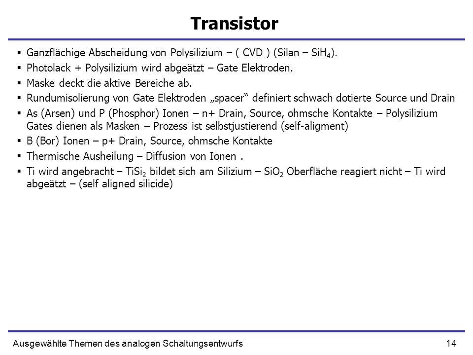 14Ausgewählte Themen des analogen Schaltungsentwurfs Transistor Ganzflächige Abscheidung von Polysilizium – ( CVD ) (Silan – SiH 4 ). Photolack + Poly
