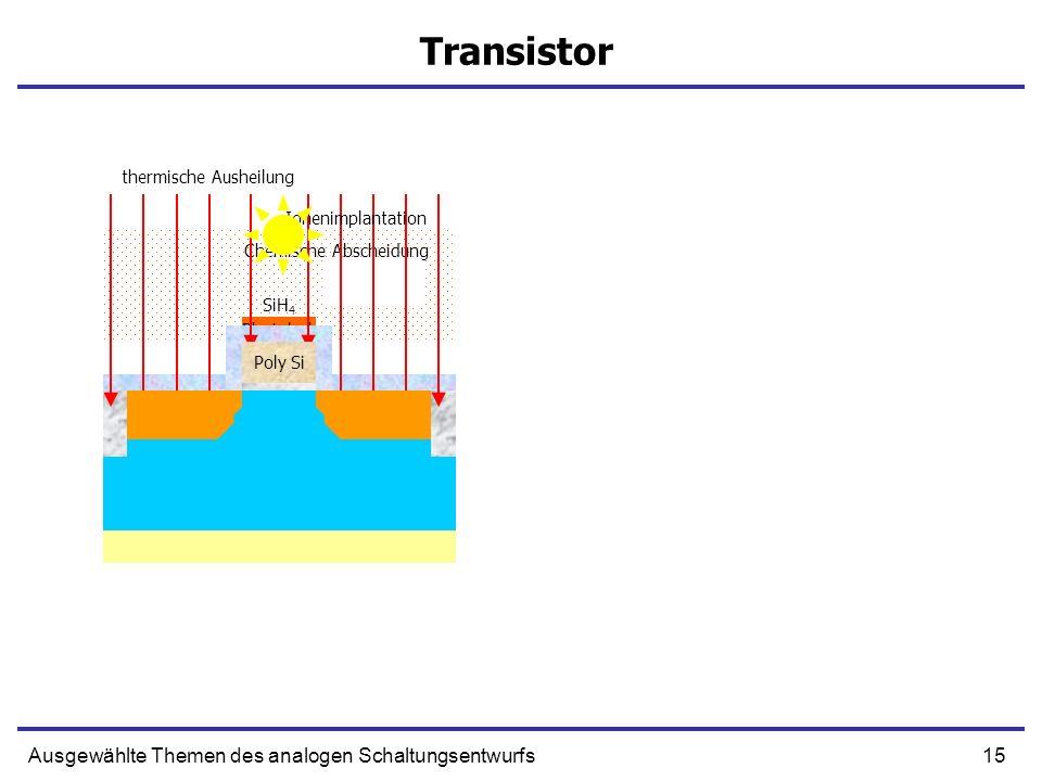 15Ausgewählte Themen des analogen Schaltungsentwurfs Transistor SiH 4 Chemische Abscheidung Poly-Silizium Photolack Oxidation Ionenimplantation P+ Pol