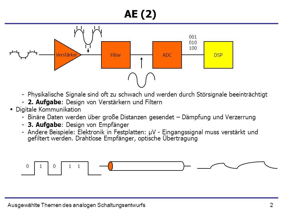 3Ausgewählte Themen des analogen Schaltungsentwurfs AE (3) Design von Prozessoren und Speicher -Schnelle internen Signale werden verzerrt und müssen zeitkontinuierlich betrachtet werden -Sense Amplifiers -Design von Logikzellen Optische Sensoren