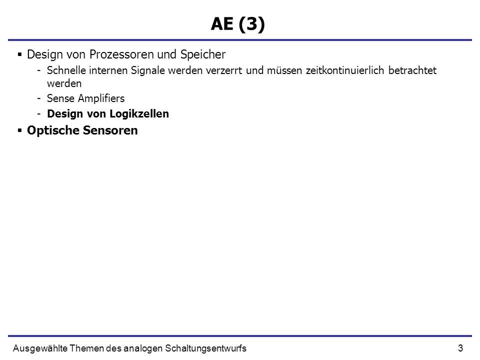 3Ausgewählte Themen des analogen Schaltungsentwurfs AE (3) Design von Prozessoren und Speicher -Schnelle internen Signale werden verzerrt und müssen z