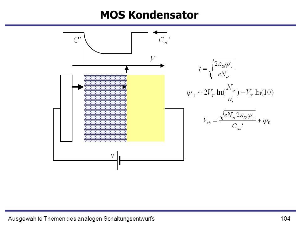 104Ausgewählte Themen des analogen Schaltungsentwurfs MOS Kondensator V