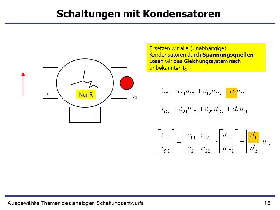 13Ausgewählte Themen des analogen Schaltungsentwurfs Schaltungen mit Kondensatoren uGuG Ersetzen wir alle (unabhängige) Kondensatoren durch Spannungsq