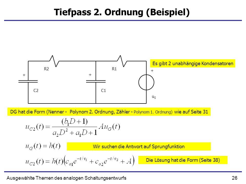 26Ausgewählte Themen des analogen Schaltungsentwurfs Tiefpass 2. Ordnung (Beispiel) + C1 R1 uGuG C2 R2 + + Es gibt 2 unabhängige Kondensatoren DG hat