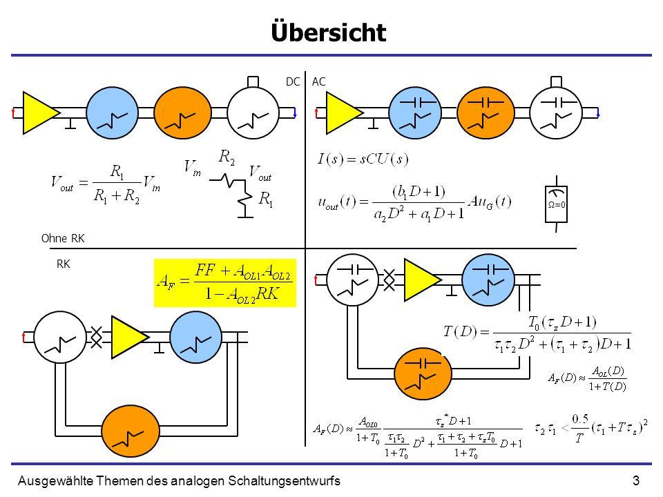 14Ausgewählte Themen des analogen Schaltungsentwurfs Schaltungen mit Kondensatoren Ersetzen wir die i Ci durch C i Du Ci (D ist zeitliche Ableitung) System von zwei Differentialgleichungen erster Ordnung u C1 u C2 uGuG Nur R + + + Ersetzen wir i durch CDu