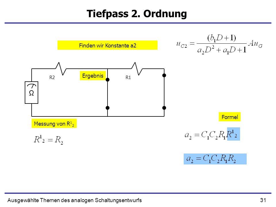 31Ausgewählte Themen des analogen Schaltungsentwurfs Tiefpass 2. Ordnung R1R2 Ω Messung von R 1 2 Formel Ergebnis Finden wir Konstante a2