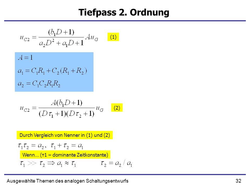 32Ausgewählte Themen des analogen Schaltungsentwurfs Tiefpass 2. Ordnung (1) (2) Durch Vergleich von Nenner in (1) und (2) Wenn… (τ1 – dominante Zeitk