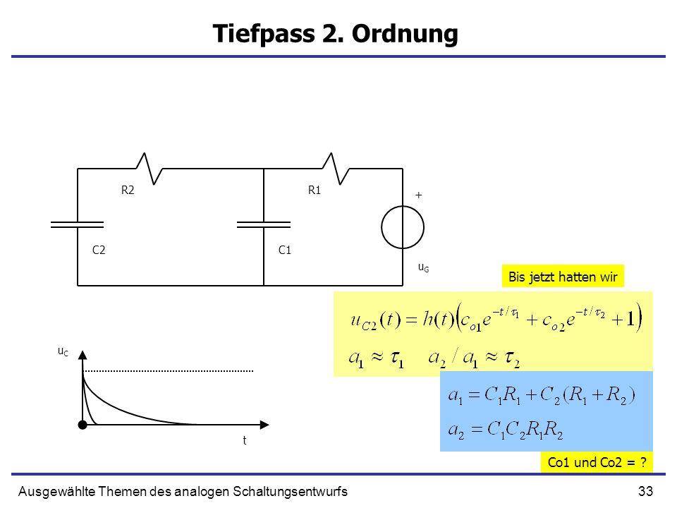 33Ausgewählte Themen des analogen Schaltungsentwurfs Tiefpass 2. Ordnung + C1 R1 uGuG C2 R2 uCuC t Bis jetzt hatten wir Co1 und Co2 = ?