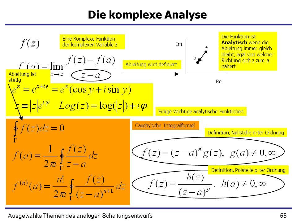 55Ausgewählte Themen des analogen Schaltungsentwurfs Die komplexe Analyse a z Eine Komplexe Funktion der komplexen Variable z Ableitung wird definiert