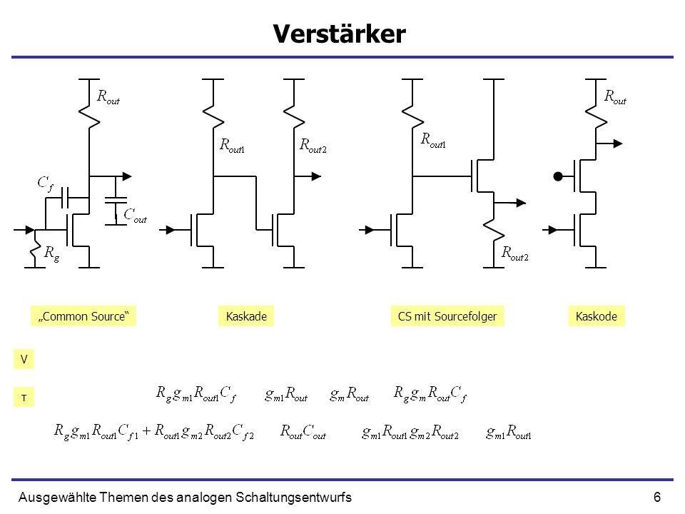 67Ausgewählte Themen des analogen Schaltungsentwurfs Kleinsignalmodell UIN IOUT + U IN I OUT = g m U IN + g m U IN Cgs Cgd CdsRds - - Transistor DC Kleinsignalmodel AC Kleinsignalmodel Source Gate Drain