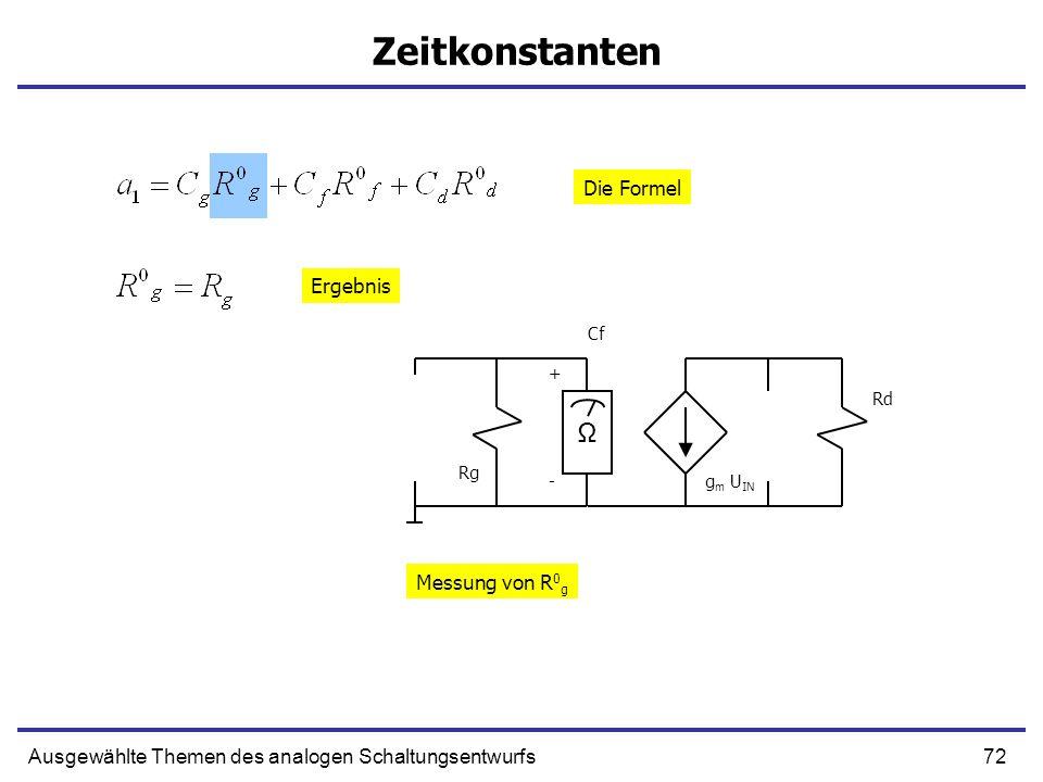 72Ausgewählte Themen des analogen Schaltungsentwurfs Zeitkonstanten + g m U IN Cf Rd Rg - Ω Messung von R 0 g Die Formel Ergebnis