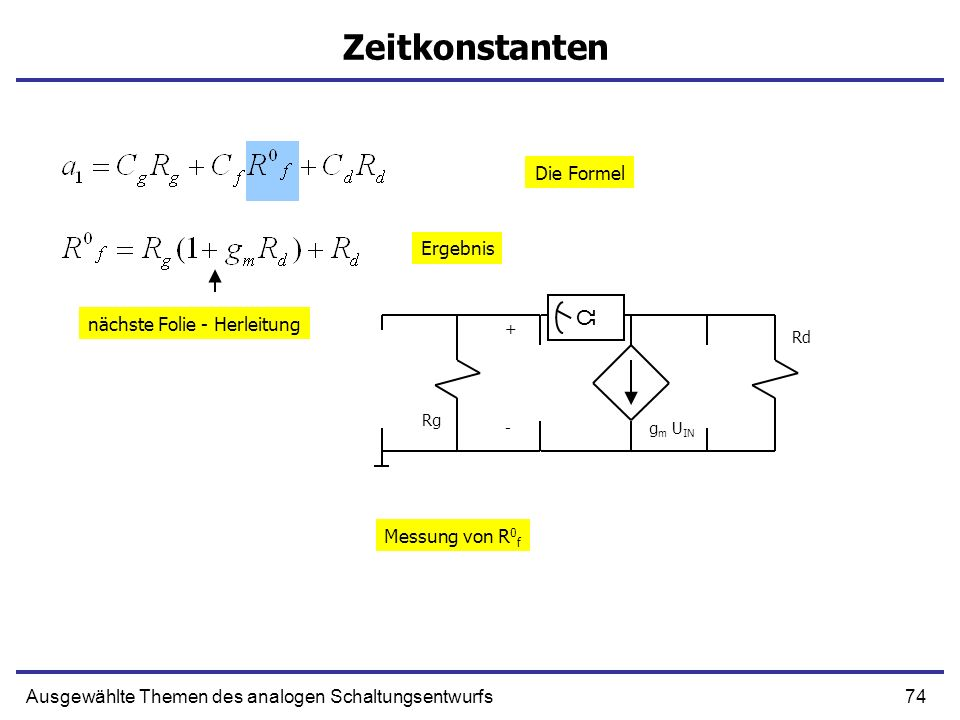 74Ausgewählte Themen des analogen Schaltungsentwurfs Zeitkonstanten + g m U IN Rd Rg - Ω Messung von R 0 f Die Formel Ergebnis nächste Folie - Herleit