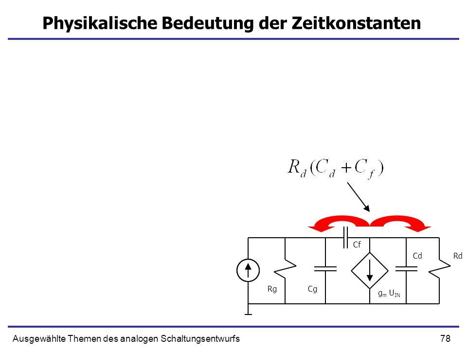 78Ausgewählte Themen des analogen Schaltungsentwurfs Physikalische Bedeutung der Zeitkonstanten g m U IN Cg CdRd Rg Cf
